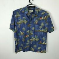 Island Shores Hawaiian Shirt Mens Size L Cotton Tiki Drinks Pineapples Floral