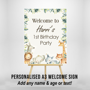 Personalised Birthday Welcome Sign Party Safari Zoo Jungle Animals A3 Size
