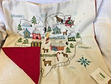 """pottery barn Christmas North Pole Santa pillow cover Embroidered 20"""" Map"""