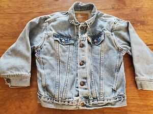 Vintage Youth Size 7X LITTLE LEVI'S Denim Tucker Jean Jacket, Orange Tab, USA
