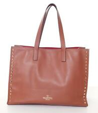 VALENTINO Tan Leather Gold Red Interior Rockstud Shopping Tote Handbag SOLD OUT