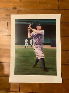 """NEW YORK YANKEES Babe Ruth Print Signed by artist Terrance Fogarty 23""""x30"""" LE"""
