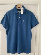 Abercrombie and Fitch Mens Polo Shirt Top Size L Large Blue