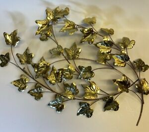 "2 Vintage Metal Wall Hanging Branch Spray Leaves Brass Copper Gold Art 17"" MCM"