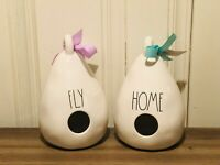 Rae Dunn Spring By Magenta Teardrop HOME & FLY Double Sided Birdhouse, Set of 2