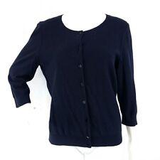 TALBOTS Womens L Petite Black 3/4 Sleeve Crew Neck Button Front Cardigan Sweater