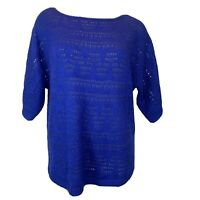 Chico's 2  Woman Sweater size large wool Mohair Blend  open weave royal blue