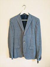 Corneliani Men's Linen/Wool Blue Gingham Check Jacket 38R BNWT