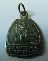 Médaille Religieuse St Christophe  je suis catholique etc... texte Protégez-nous