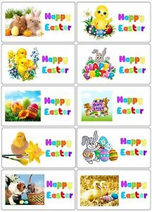 40 x Happy Easter labels/stickers cakes/sweets/gift bags/party/Egg hunt/presents
