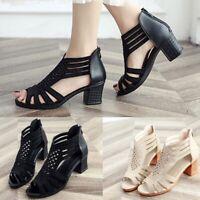 2019 Women's Hollow Cut Out Peep Toe Mid Heel Sandals Zipper Casual Dress Shoes