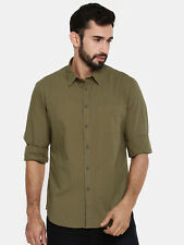Shirt Indian Terrain Men Olive Green Regular Fit Self Design Casual  long sleeve