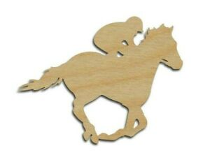 Jockey Horse Wood Cutout Derby Racing Unfinished Wood Shapes Variety of Sizes