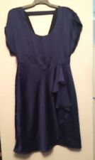 REVIEW NAVY SATIN DRESS WITH RUFFLE SIZE 12