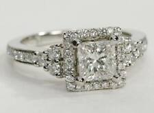 Not Enhanced Princess Solitaire with Accents Fine Diamond Rings