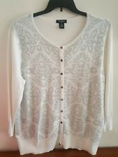 Nue Options Women's Sweater Cardigan Winter White Silver Shimmer Plus Size 1X