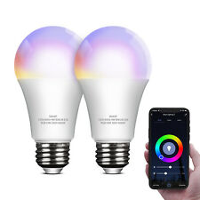 LED Smart WiFi Light Bulbs E26 RGB Dimmable Remote Control Multicolor Lamp 2 pcs