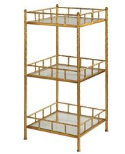 Gold Leaf Iron Accent Shelf Table 3 Tiered Glass  Elegant Hollywood Regency