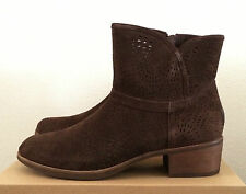 Womens Size 9.5 Brown UGG Darling Seaweed Perf Zip Ankle Cowboy Boots 1007142