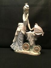 "Lladro #4938 ""Baby's Outing"" Mother & Newborn Baby in Ornate Carriage"