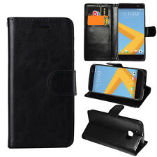 Black Premium Leather Flip Case Stand Pouch Cover For HTC One M10 Desire 530