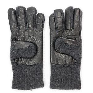 100% Wool & Black Leather Boiled Wool Gloves - Dachstein Woolwear from Austria