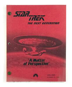 """STAR TREK:TNG ORIGINAL SCRIPT """"A Matter of Perspective,"""" written by Ed Zuckerman"""