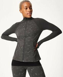 BNWT Sweaty Betty Power Reflective Gym Zip Through Jacket Grey Small RRP £110.00