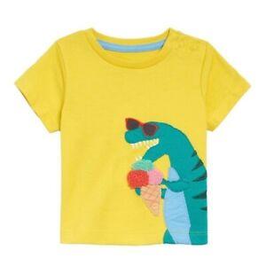 Mini Boden Infant size 0-3 months t-shirt dinosaur ice cream yellow short sleeve