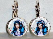 Ohrringe Alice im Wunderland Damen Hänger Ohrschmuck Modeschmuck Leverback Glas