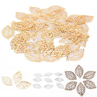 50X Charm Filigree Hollow Leaves Pendant Jewelry Making Leaves Metal Craft ZN