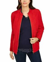 Charter Club Womens Size XXL Quilted Mandarin-Collar Jacket Red Polish Zip $89