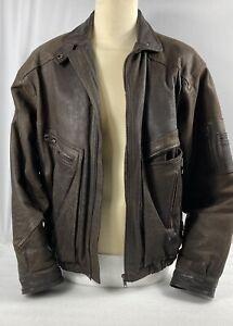 Vintage Mens Brown Leather Bomber Jacket size Large - Chest size 42/44 ins 106cm