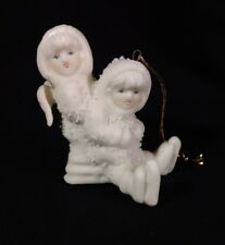 Snow Babies Christmas Ornament Two Children One with Wings One with Skates