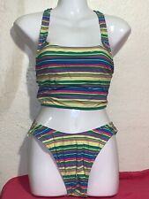 Vtg Liz Claiborne Bright Multi Color Sz 8 Tankini High Cut 90's Electric Striped