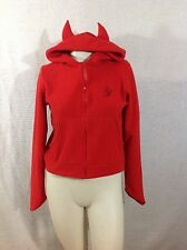 Emily The Strange Devil Hoodie Blonde Mafia Fleece Jacket Horned Hood Red M