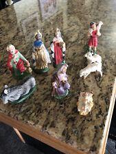 Vintage Nativity Set Made In Italy Figurines Baby Sheep Joseph Donkey Wisemen