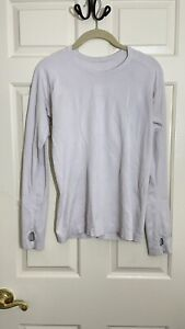LULULEMON Run Swiftly Tech Long Sleeve Crew Shirt Top Size 6 Gray WhiteThumbhole