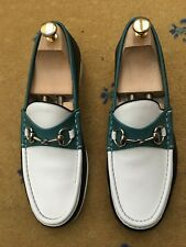 Gucci Mens Shoes White Green Black Horsebit Loafer UK 8.5 US 9.5 42.5 Boat Deck