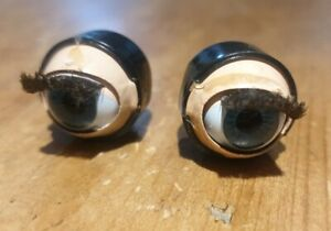 SLEEPING GLASS DOLL EYES for ANTIQUE DOLL, WEIGHTED VINTAGE EYES
