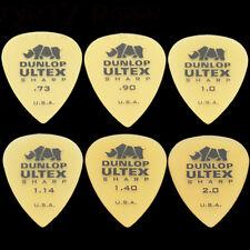 6 Dunlop Ultex Sharp Guitar Picks - 1 Of Each Size