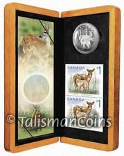 Canada 2005 White Tailed Deer and Fawn Coin + Stamps Set $5 Pure Silver Proof