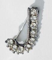 broche lettre J incrustée cristaux diamant bijou vintage couleur argent 2367