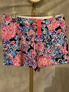 NWT Lilly Pulitzer Jayne Knit Short High Tide Navy Turtle Amazement 16
