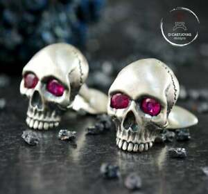 Natural RUBY Pure 925 Solid Sterling Silver Skull Cufflinks Handmade Exclusive