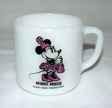 Walt Disney Federal Glass Company Minnie Mouse In Pink Polka Dot Dress Mug Cup