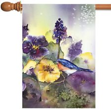 New Toland - Bluebird Pansies - Purple Flower Bird House Flag