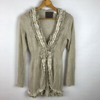 Anthropologie Guinevere Womens Tan Open Front Cardigan Ruffled Pointelle Sweater