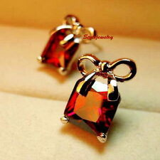 Rose Gold Filled Ruby Made with Swarovski Crystal Wedding Bow Stud Earring XE92