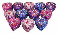 A Set Of 12Pcs Mirror Work Beaded Multi Jewellery Boxes 1.6 Inches Width